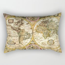 Gorgeous Old World Map Art from 15th Century Rectangular Pillow