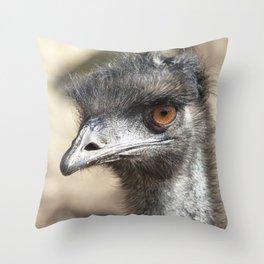 Inquisitive Emu Throw Pillow