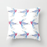 swallow Throw Pillows featuring Swallow by Shelley Jayne Illustration