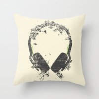 deadmau5 Throw Pillows featuring Art Headphones V2 by Sitchko Igor