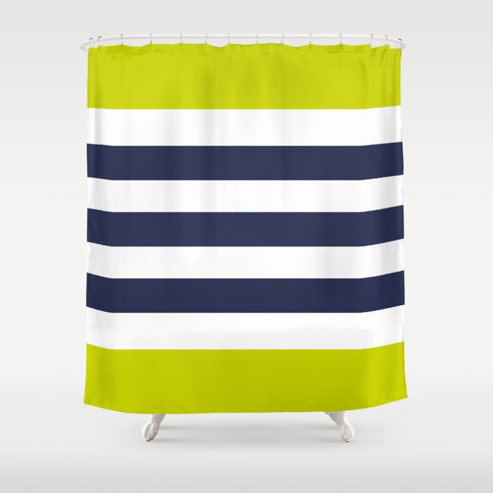 Modern Cly Navy Blue Lime Green Stripes Shower Curtain By Peladesign