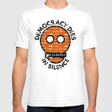 Democracy Dies In Silence SMALL Mens Fitted Tee White