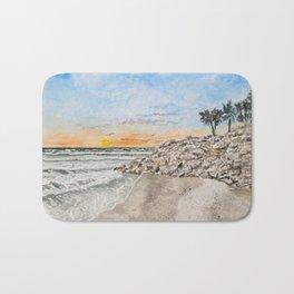 Beach sunset art print Bath Mat