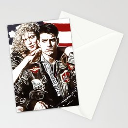 Top Gun American Dream Bald Pilot Girlfriend Motorbike Stationery Cards