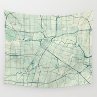 houston Wall Tapestries featuring Houston Map Blue Vintage by City Art Posters