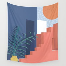 A Mediterranean view with plants and sun Wall Tapestry