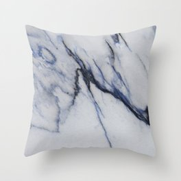 White Marble with Black and Blue Veins Throw Pillow
