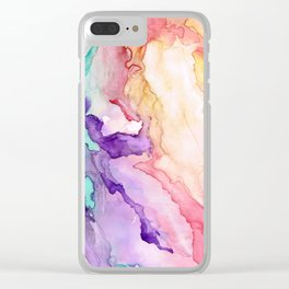 Color My World Watercolor Abstract Painting Clear iPhone Case