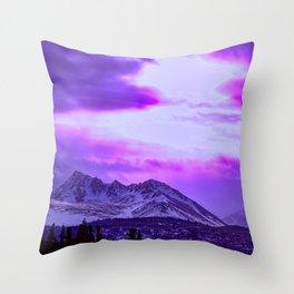 Chugach Mountains in Purple Throw Pillow