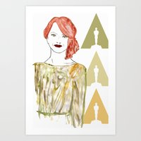 emma stone Art Prints featuring Emma by Kats Illustration