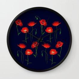 Red Poppy Meadow Night Wall Clock