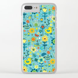 Ducks and frogs in the garden Clear iPhone Case