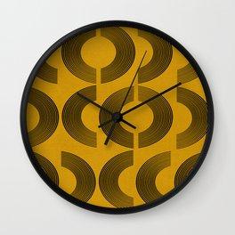Yellow modern mid century shapes Wall Clock