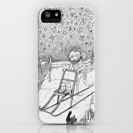 Kick-sledding Fox iPhone Case