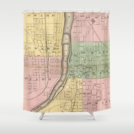Vintage Map of Grand Rapids Michigan (1873) Shower Curtain