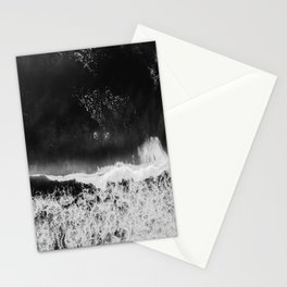 Surfer girls from above in Ericeira Portugal | Ocean wanderlust photography black and white print Stationery Cards