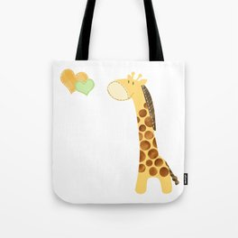 Baby Giraffe with Hearts Tote Bag