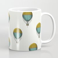 hot air balloons Mugs featuring Hot Air Balloons by Juste Pixx Designs