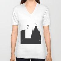 ski V-neck T-shirts featuring WTF? Ski by Estudio Minga | www.estudiominga.com