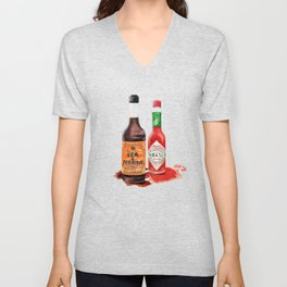 Saucy! Watercolour Food illustration Unisex V-Neck