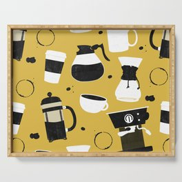 Do you even coffee? (mustard) Serving Tray
