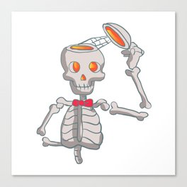Funny skeleton with bowtie. Canvas Print