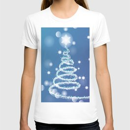 Christmas background with bokeh and snowflake T-shirt