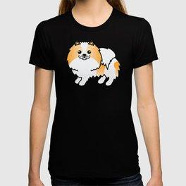 Orange Parti-Color Pomeranian Dog Cute Cartoon Illustration T-shirt