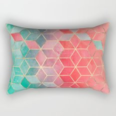 Rose And Turquoise Cubes Rectangular Pillow