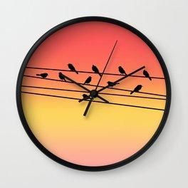 Birds on Power Lines Pink Sunset Gradient Wall Clock