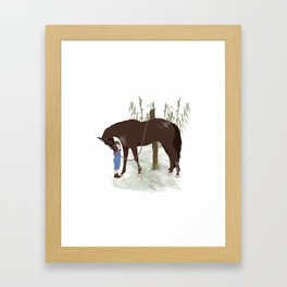 A girl and her horse Framed Art Print