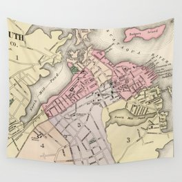 Vintage Map of Portsmouth NH (1877) Wall Tapestry