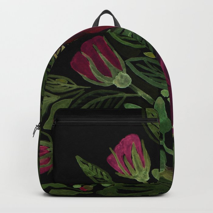A bouquet of roses on a black background . Backpack