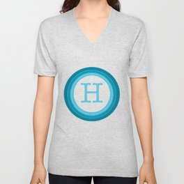 Blue letter H Unisex V-Neck