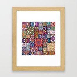 Boho Patchwork Quilt Pattern 2 Framed Art Print