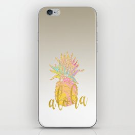 Metallic silver faux gold glitter tropical aloha pastel pineapple iPhone Skin