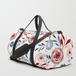 Pink and blue flowers. Duffle Bag