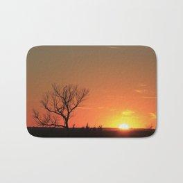 Kansas Golden Sunset with a tree Silhouette. Bath Mat