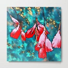 Angels Fishing Rod Floral Art Metal Print