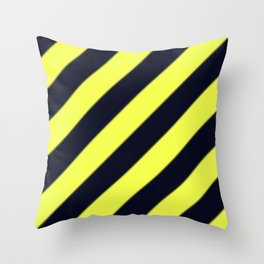 Black and Yellow Diagonal Stripes Throw Pillow