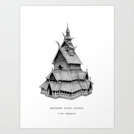 Borgund Starve Church, 1181 Norway Art Print