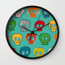 sew skully turquoise Wall Clock