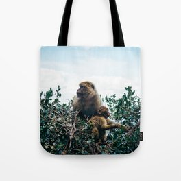 Macaque Mother and Daughter Tote Bag