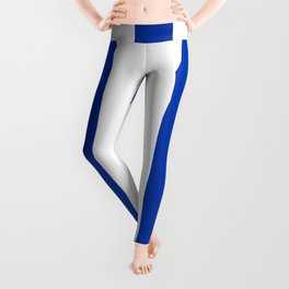 Royal azure - solid color - white vertical lines pattern Leggings