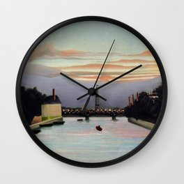 Sunset and Neon Lights at the The Eiffel Tower, Paris, France by Henri Rousseau Wall Clock
