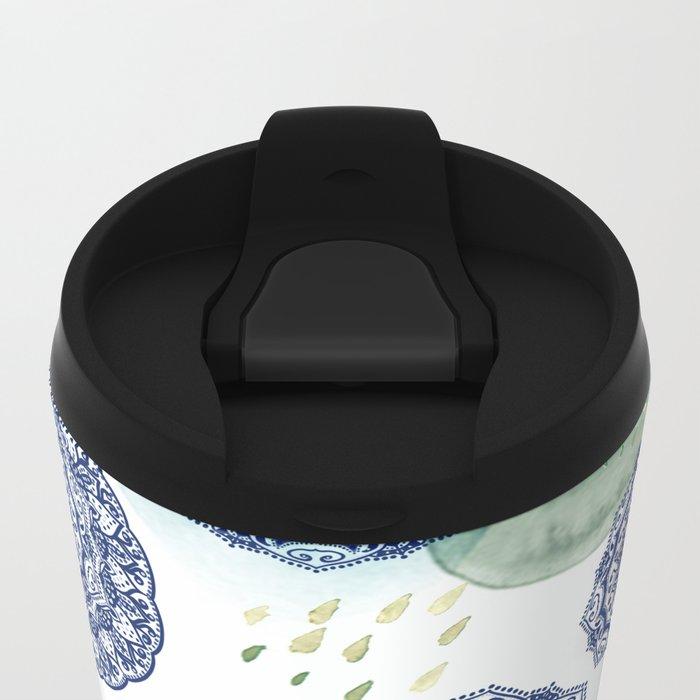 Fall Love Mandala in Blue Metal Travel Mug