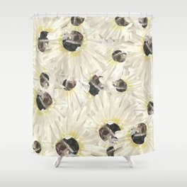 Citrine White Floral Shower Curtain