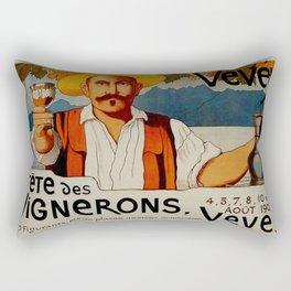Vintage 1905 Vevey Winegrowers Festival Print Rectangular Pillow