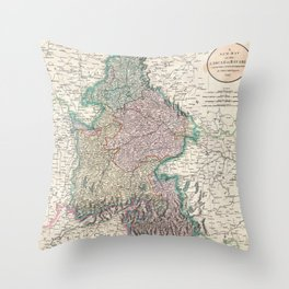 Vintage Map of Bavaria Germany (1799) Throw Pillow