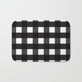 Contemporary Black & White Gingham Pattern Bath Mat